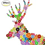 ZOOMSKY 600 Bunte Knöpfe Set, Kinderknöpfe mixed in verschiedene Größen und Farben zum Basteln,Nähen,Verzieren,Kinder DIY Basteln Painting,Geschenk Deko