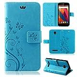 betterfon | Flower Case Handytasche Schutzhülle Blumen Klapptasche Handyhülle Handy Schale für ZTE Blade L5 Plus Blau