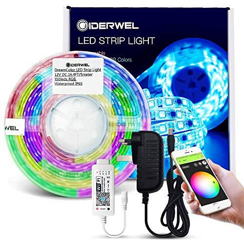 GIDERWEL Home Smart DreamColor Kit di luci a strisce LED con WiFi Music  Controller LED wireless Funziona con Alexa/Assistente Google, Android/iOS  Sync