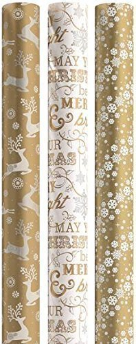 15m Christmas Gift Wrapping Paper 3x5m Roll - Golden Classics - Gold, White & Silver Contemporary by Gift Maker