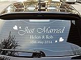 Auto Fenster Aufkleber 'Just Married' Sticker Hochzeitsgrafik - Weiß Glänzend