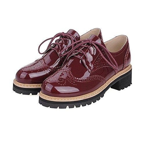 AllhqFashion Femme Verni Rond à Talon Bas Lacet Couleur Unie Chaussures Légeres Rouge Vineux