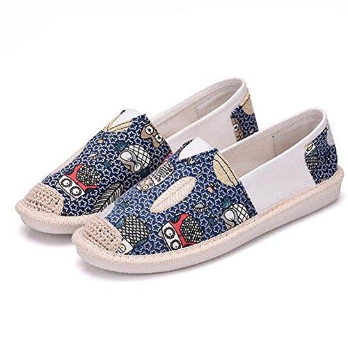 Mulheres Artesanais De Sapatos Casuais Moda Vintage Lona Plana De Uma Variedade De Arte Chinesa Azul Disponível