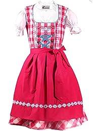 Trachtenkleid 3tlg. Kinderdirndl Set hotpink Gr. 86,92,104,110,116,122,128,134,140,146,152
