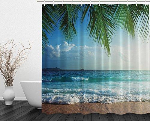 Palms Ocean Tropical Island Beach-Dekor Hohe Auflösung Fotografie Zuhause-Postkarte Dekor viele schöne Duschvorhänge zur Auswahl, hochwertige Qualität, Wasserdicht, Anti-Schimmel-Effekt 180 x 180 cm (Halloween Schwarze Katze Silhouette Muster)