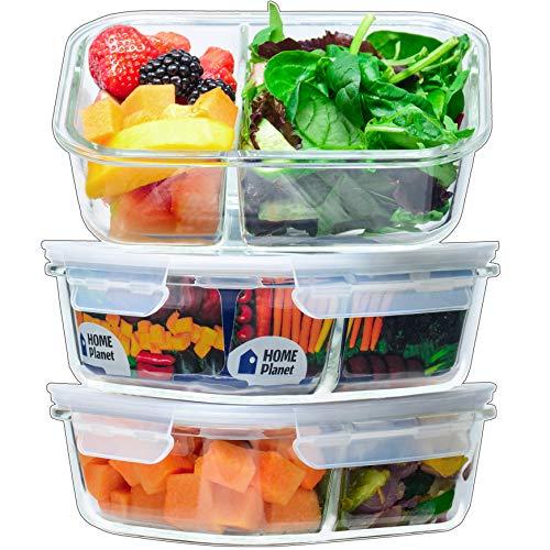 """Home Planet] Doppelfach 1050ml Lebensmittelbehälter aus Glas (3 Stücke) BPA-frei """"No-Mix"""" Deckel mit Schnappverschluss backofen, mikrowellen- und spülmaschinengeeignet Perfekt als Bentobox"""