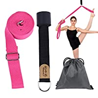 (Rose) - YOUTH UNION Leg Stretcher, Door Flexibility & Stretching Leg Strap Stretch Band with Carrying Pouch for Yoga, Ballet, Dance and Gymnastic Exercise