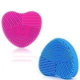 Wefond Pack de 2 Pinceau de Maquillage Pinceau de Nettoyage Doigt Gant Silicone Outils de Lavage Cosmétiques, Hot Pink & Blue