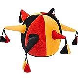dressforfun 302059 Gorro de juglar colorido, Gorro Negro, Rojo y Naranja con Forma de Yelmo, Cuernos Cosidos con Borlas