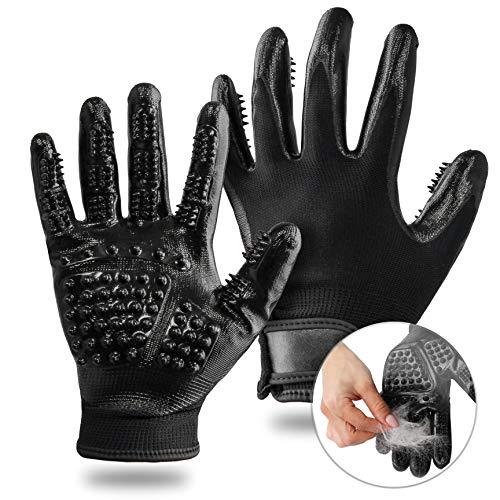 Silverback 2X Katzenbürsten Fellpflege Handschuh - Katzenhandschuh Hundebürste Tierhaar Fellpflege Für Katze Hund Und Pferd Schwarz L