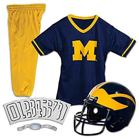 Franklin Sports FRA-15500F09-Y1 Michigan Wolverines Jugend NCAA Deluxe Helm und Uniform Set-Small