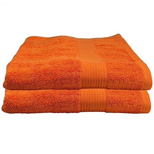 Julie Julsen 2er Pack Duschtuch 23 Farben erhältlich weich und saugstark 500gsm Öko Tex Orange 70 x 140 cm
