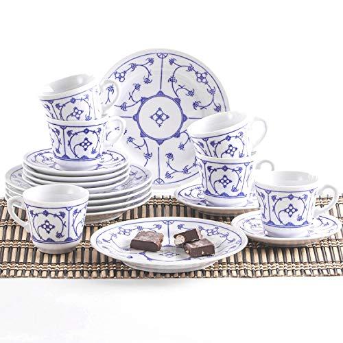 KAHLA 410122O75056H Blau Saks Kaffeeservice für 6 Personen Frühstücksset 18-teilig weiß blau Kuchenteller Tasse Untertasse Porzellan Vintage Blumenmuster