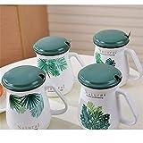 Estilo nórdico Hoja Verde Estudiantes beben Agua Taza de cerámica con Tapa Cuchara Oficina Agua Taza Gran Barriga Taza Cuatro Colores al Azar Pelo