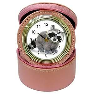 Horloge Réveille-matin cadeau SPD90 Raccoon Pet Animal Jungle Pink Leather Jewelry Case Box Holder and Alarm Clock