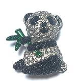FizzyButton Gifts Tono de Plata Panda Broche del Rhinestone, Bufanda Pin Insignia