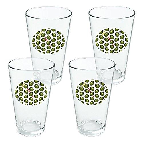 Martini grün oliv Muster Neuheit Klauenhammer, Pint Trinken aus Hartglas–Set von 4
