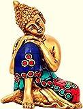 Fasherati Gott Im Hinduismus Buddha Messing Statue ruheposition für Home Dekoration | Büro Dekoration Visitenkarte–10,2cm (Messing, Multicolor, Gold)