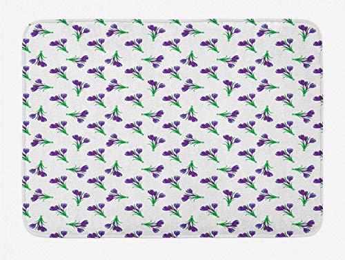 CHKWYN Garden Bath Mat, Springtime Purple Meadow Flowers Idyllic Mother Nature Gardening Theme, Plush Bathroom Decor Mat with Non Slip Backing, Purple Forrest Green,20X31 inch