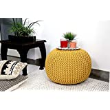 Tanishkam Home Décor Pouf for Living Room (Yellow Color)