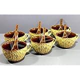 KLEO - Ceramic Porcelain Soup Bowls, Rice Bowls, Cereal Bowl, Dessert Bowl, Serving Bowls, Fruit Bowls Set- Beige N Brown Timantti - Set Of 6 - 6 Bowls With 6 Spoons
