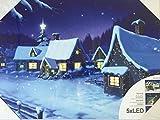 Kamaca LED Bild WEIHNACHTLICHES Dorf - Zauberhaftes Gemälde auf Einem Keilrahmen - beleuchtetes Bild mit 5 LED´s - Bild 30 cm x 40 cm - Weihnachten - Advent (Weihnachtliches Dorf)