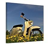 Kunstdruck - Vespa - Schwalbe - Bild auf Leinwand 40 x 40 cm - Leinwandbilder - Bilder als Leinwanddruck - Motorisiert - Moped - Motorroller auf Einer Wiese