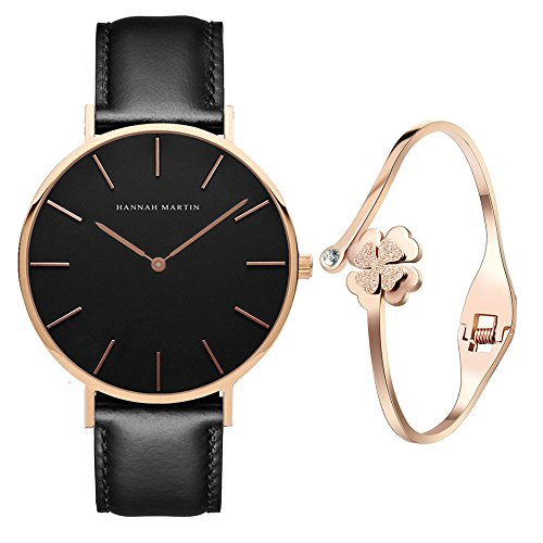 XLORDX Classic Damen-Armbanduhr Analog Quarz Schwarz Leder Armband, Schwarz Zifferblatt mit Elegant...