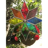 Glasmalerei Sonnenfänger Star, Handgemachte Multicolor Glasmalerei Suncatcher, Glaskunst, Glasmalerei Panel Sun Catcher Handmade - Colin Rhodes