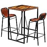 Festnight- 3-teilige Bar-Set Bar Sitzgruppe aus Recyceltes Massivholz und Echtes Ziegenleder Barset inkl. 1 Bartisch und 2 Barstühle