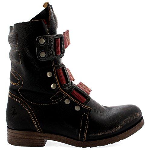 Couro Militares Londres Ankle Pretos Stif Voar De Senhoras Puxar Boots Fivela Em wUz8RXtnq