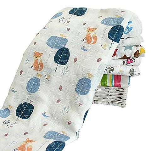 Sweetds Neugeborene Baumwolle Wrapped Musselin Baby Badetuch/Decke 120 x 120 cm (Jahreszeit Stroller Abdeckung)