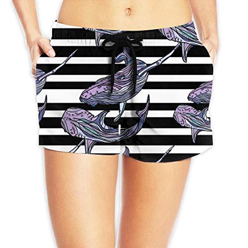 ERCGY Women's Beach Board Shorts Whales Stripes Ocean Animal Black and White Swim Trunks Briefs Swimsuit S - Ocean Beach Stripe