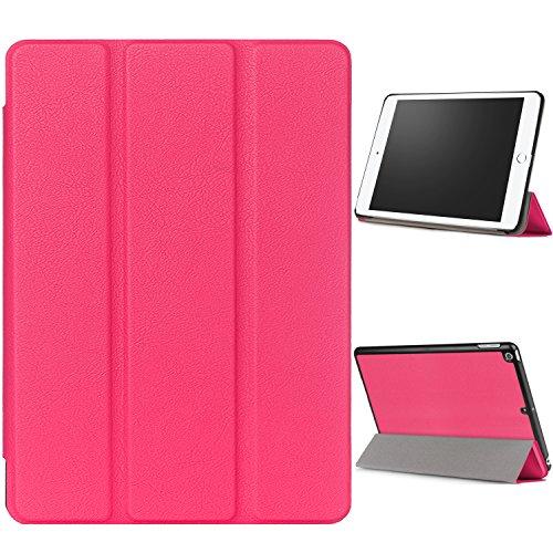 """WindTeco Hülle für Neu iPad 9.7 Zoll 2017 - Ultra Dünn Slim-Fit Smart Hülle Schutzhülle Tasche mit Einschlaf / Aufwach Funktion für New Apple iPad 9.7"""" IOS 10 Retina Display Tablet, Magenta"""
