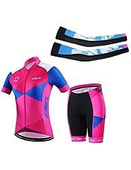 dushow mujeres multicolor 3d acolchado manga corta bicicleta Ciclismo Jersey conjunto y el brazo mangas, mujer, Pink+Blue