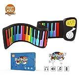 JouerNow Rainbow Roll Up Piano, mit Noten - SPIELEN nach FARBE, 49 Standardtasten mit Eingebautem Lautsprecher, Pädagogisches Spielzeug für Anfänger, perfektes Geschenk für Kinder (Gelb)