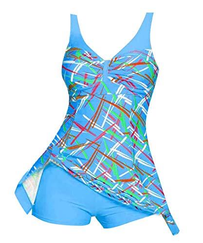 Blue Tank Badeanzug (UROOM Damen bedrucktes Schwimmkleid Übergröße Rock Überzug Badeanzug mit Jungen Bein kurz - Blau - Large)