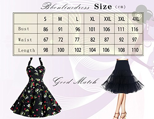 Bbonlinedress Neckholder 50er Vintage Pinup Retro Rockabilly Kleid Cocktailkleider Burgundy M -