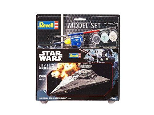 Revell Modellbausatz Star Wars Imperial Star Destroyer im Maßstab 1:12300, Level 3, originalgetreue Nachbildung mit vielen Details, Model Set mit Basiszubehör, einfaches Kleben und Bemalen, 63609