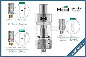 Eleaf Melo 2 Atomizzatore SubOhm in Acciaio e Vetro Pirex Prodotto Senza Nicotina
