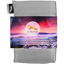 Silkrafox - Saco de dormir ultraligero para las excursiones de senderismo, los viajes, las acampadas, seda artificial, gris