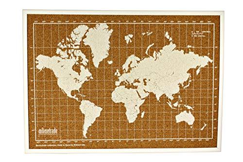 Milimetrado - Mapamundi corcho marco madera pino -
