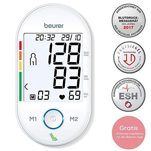Beurer BM 55 Oberarm-Blutdruckmessgerät mit patentiertem Ruheindikator, inklusive Gutscheincode für die Meditations-App Balloon