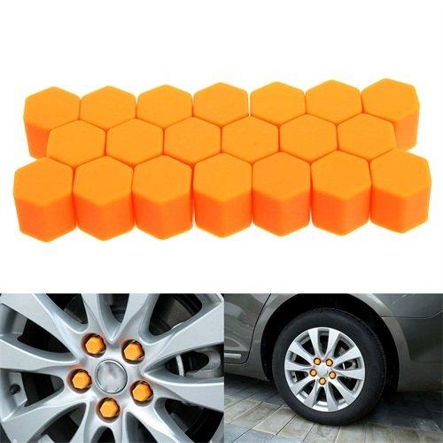 19mm Orange 20Pcs Set Silikon Auto Radschraubenkappen Radmutter Kappen Abdeckungen Staub Schutz Kappen