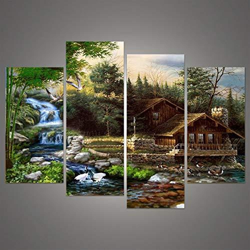 MXLF Leinwand-Malerei Art House Printed Poster Leinwand-Wand-Modular Bild 4 Stück/Set Wasserfall Landschaft Hochzeit Home Decoration Gemälde (Color : No Frame, Size (Inch) : 30x60x2 30x80cmx2) -