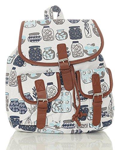 malito Damen Rucksack | Handtasche in trendigen Farben | Tasche mit vielen Mustern - Schultasche R800 (weiß-Gläser)