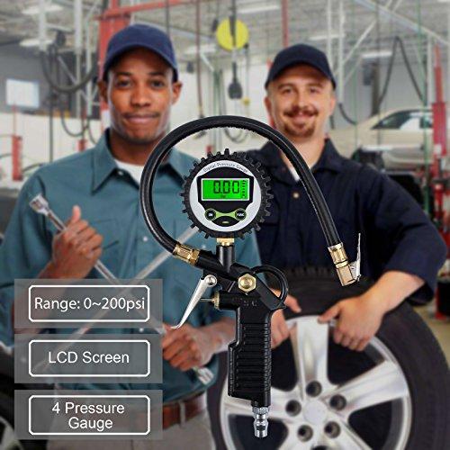 VinTeam-200PSI-Manometro-Pressione-Pneumatici-Digitale-Manometro-Gonfiatore-LCD-Pistola-Manometro-Compressore-Gonfiaggio-Gomme-Con-Plastica-Tappi-Valvola