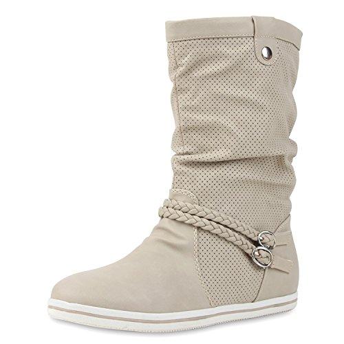 SCARPE VITA Bequeme Damen Stiefel Flache Schlupfstiefel Boots 160430 Creme Nieten 38