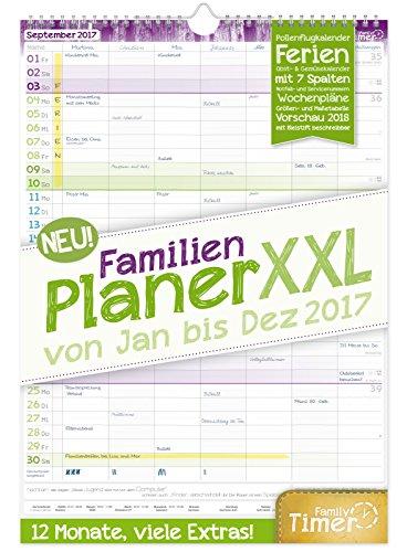 Preisvergleich Produktbild FamilienPlaner XXL 2017 Wand-Kalender, Chäff-Timer, 7 Spalten, 34 x 48,5cm, 12 Monate Jan - Dez 2017