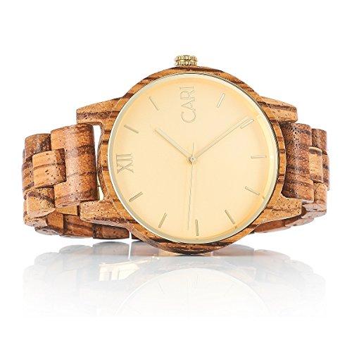 Cari Herren Holz Armbanduhr London Zebrano Holz Braun LO-060356